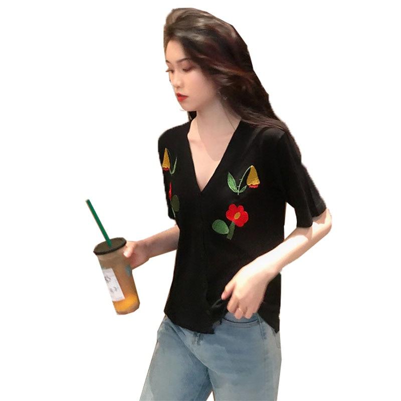 T-shirt Frauen Große Größe 4XL Eis Seide Pullover Kurzen Ärmeln V-ausschnitt Blumen T Shirts top Sommer Thin stricken Strickjacke mantel B13