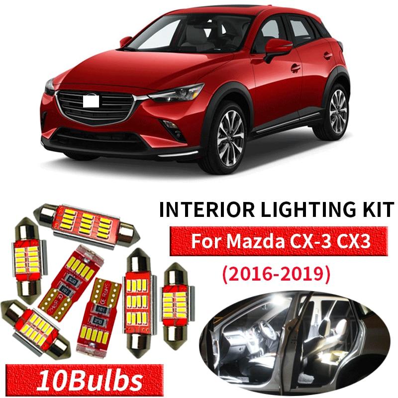10 Uds. Canbus blanco LED lámpara coche bombillas Interior paquete Kit para 2016-2019 Mazda CX-3 CX3 mapa Domo tronco placa Luz