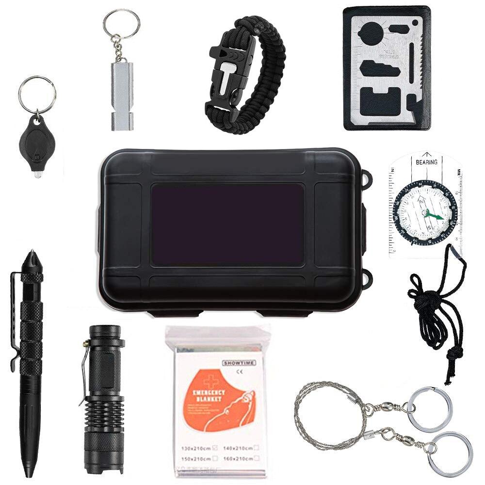 Kit de supervivencia de emergencia al aire libre, herramientas profesionales de defensa táctica, herramientas de equitación con cuchillo, brújula para aventura, deporte al aire libre