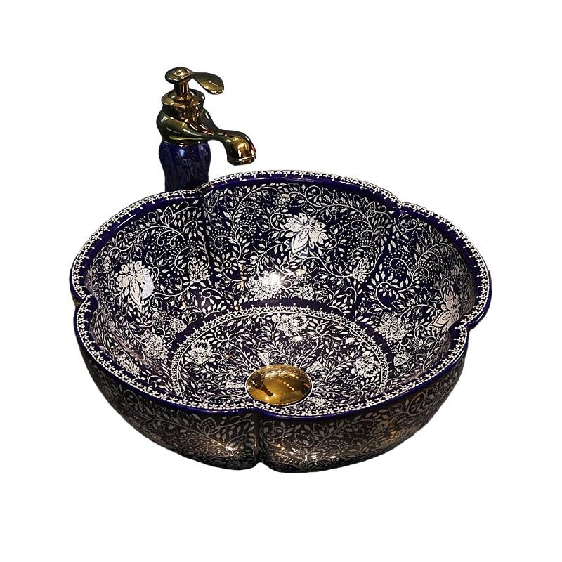 JS-B0136 الفن السيراميك مغسلة الحمام بالوعة مرحاض بالوعة للمرحاض الشامبو حوض جولة كونترتوب حوض مطابقة مجموعة استنزاف