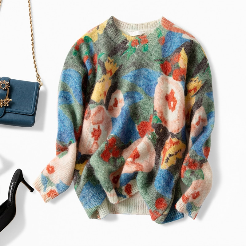 Knitwear Women Wool Blended Pullovers Colorful Patchwork O-Neck Long Sleeves High Street Loose Top New Fashion Design enlarge