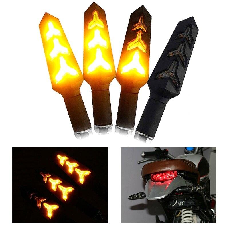 2/4pcs Sinal Da Volta Da Motocicleta Luz Da Cauda Luzes de Seta Seqüencial Água Corrente LED Indicador Da Lâmpada Âmbar Aviso de Flash Universal