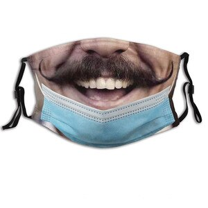 1PC Adult's 3D Funny Print Cotton Mouth Mask Reusable Face Masks Washable Man Woman Mouth Fabric Cover Mask Mascarilla#50