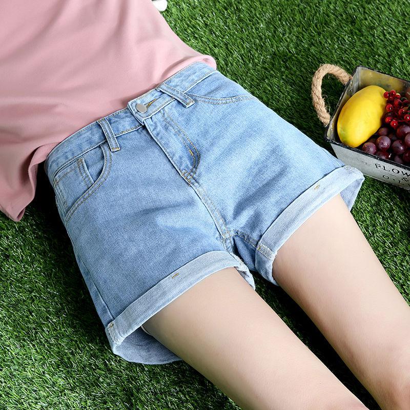 Denim Shorts 2021 New High-Waist Shorts Women Casual Loose Ladies Fashion Large Size Elastic Waist Wide-leg Jenas Short Jeans