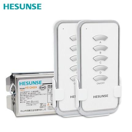 شحن مجاني 4 طريقة 85 فولت-250 فولت مع 2 وحدات تحكم HS-QA024 2N1 RF الرقمية اللاسلكية التحكم عن بعد التبديل