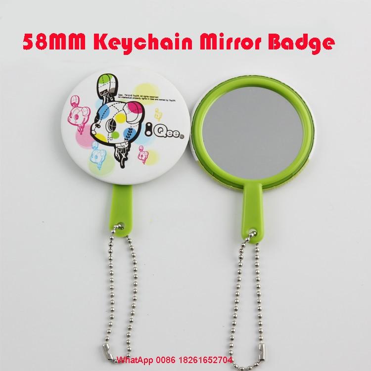 58mm Keychain Mirror Button Badge Blank Material DIY Button Badge Material Mirrior badges  keychain 100pcs/PKg