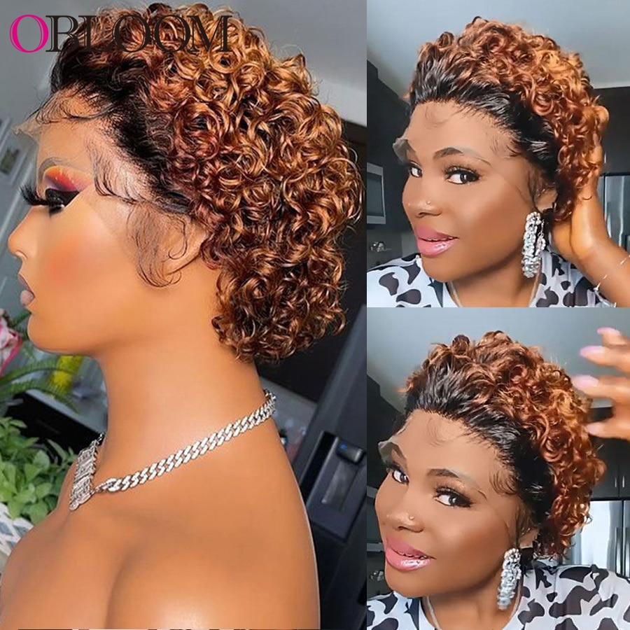 Ombre Lace Front Human Hair Wigs Short Curly Pixie Cut Wig 250% Density Short Bob Wig Brazilian Hair Wig for Women Pre plucked