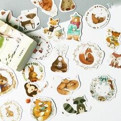 1 caixa (50 pçs adesivos) floresta raposa coelho veados animais papel adesivos diy scrapbooking diário álbum decoração