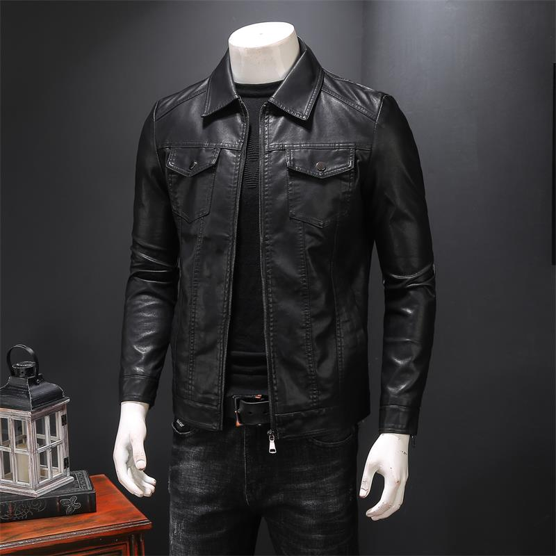 Men Split Leather Jacket 2021 New Spring And Autumn Sheepskin Slim Pocket Male Motorcycle Leather Jacket Teenage Boy Black 901