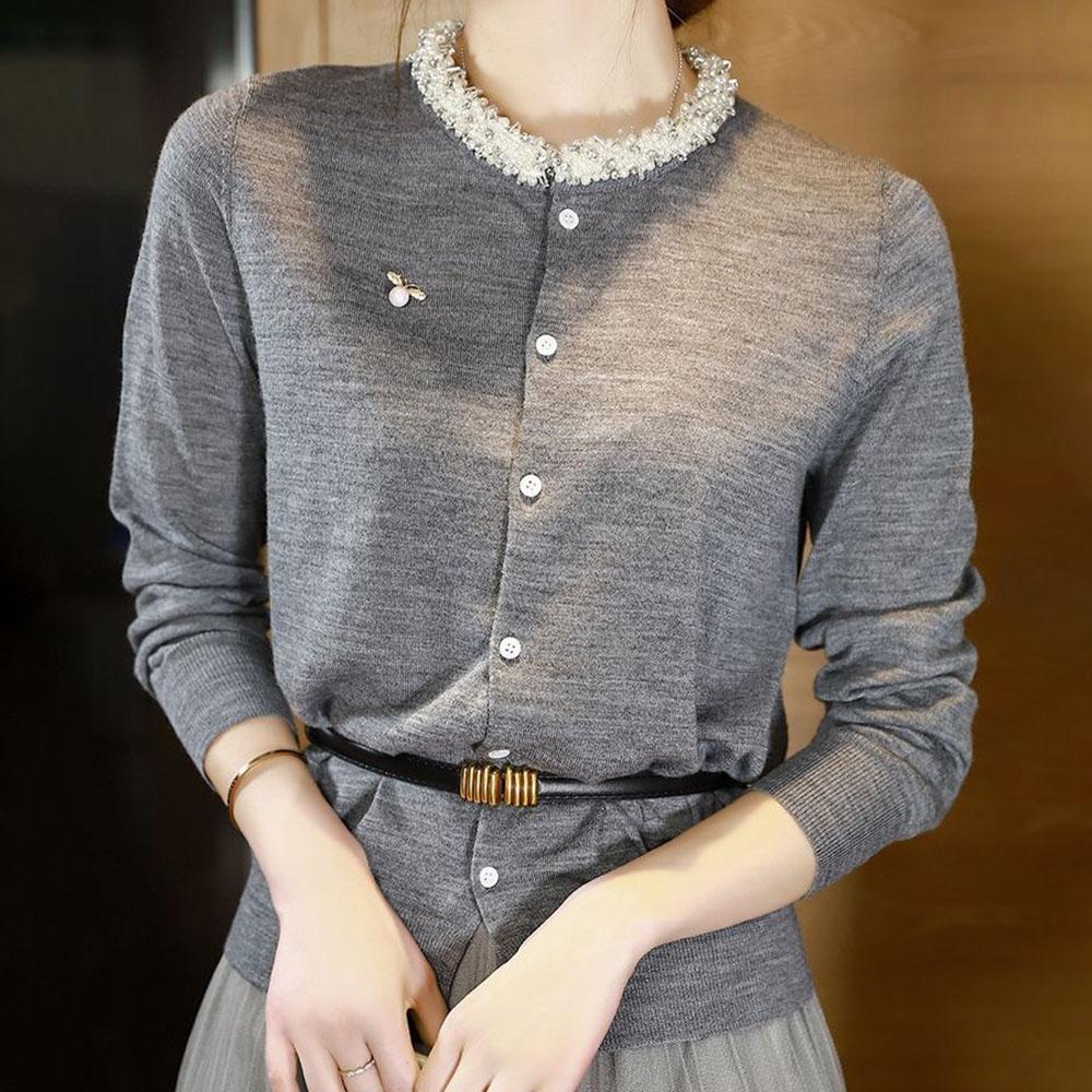 Elegant Long Sleeve Sweater Women 2021 New Beading Long Sleeve Single-Breasted Cardigan Soft Flexible Knitted Outwear