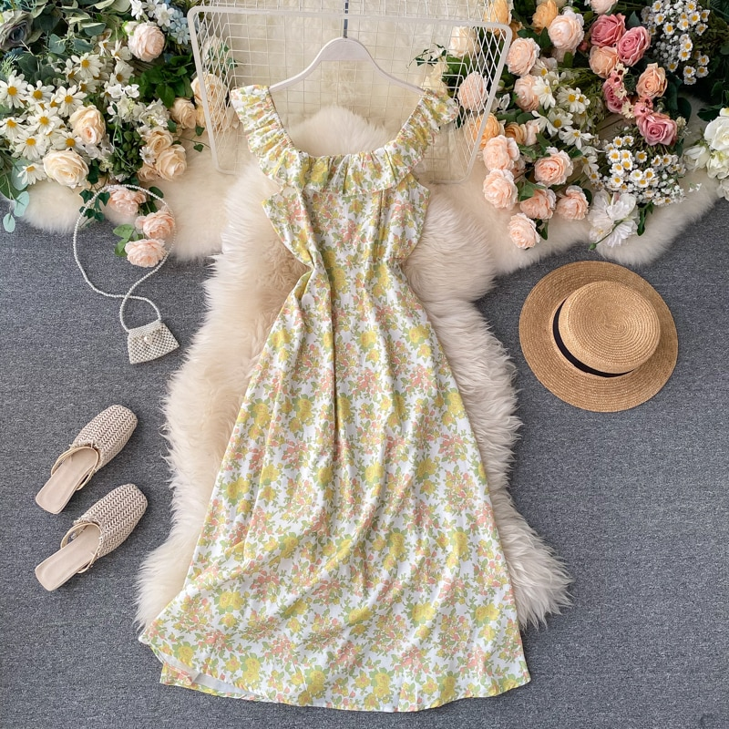 Floral Dress Women's Summer Dress 2020 New Chic Sweet Lotus Leaf Collar Vacation Style Strap Dress