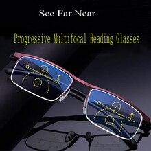 Lunettes de lecture progressives multifocales pour hommes et femmes, lunettes offre spéciale, Anti rayons bleus, demi-monture, en alliage de métal, noires, 1.5, 1.0
