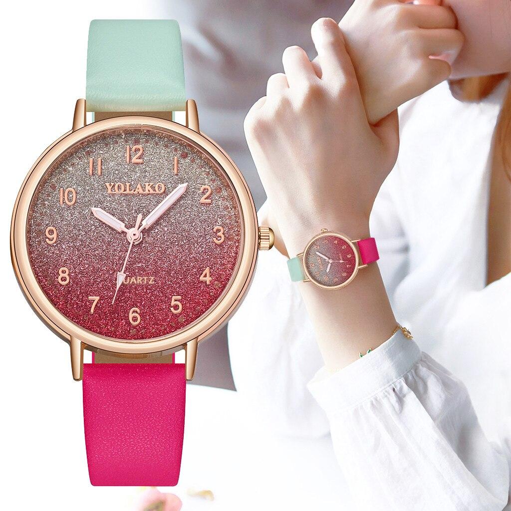 2020 relógios yolako moda simples gradiente dial com cinto de diamante senhoras relógio de quartzo marca senhoras mulher reloj mujer presente