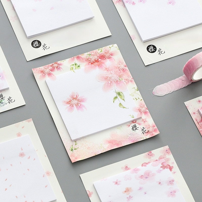 30 Sheets/pad Japanese Sakura Self Stick Notes Self-adhesive Sticky Note Cute Notepads Posted Writing Pads Stickers Paper