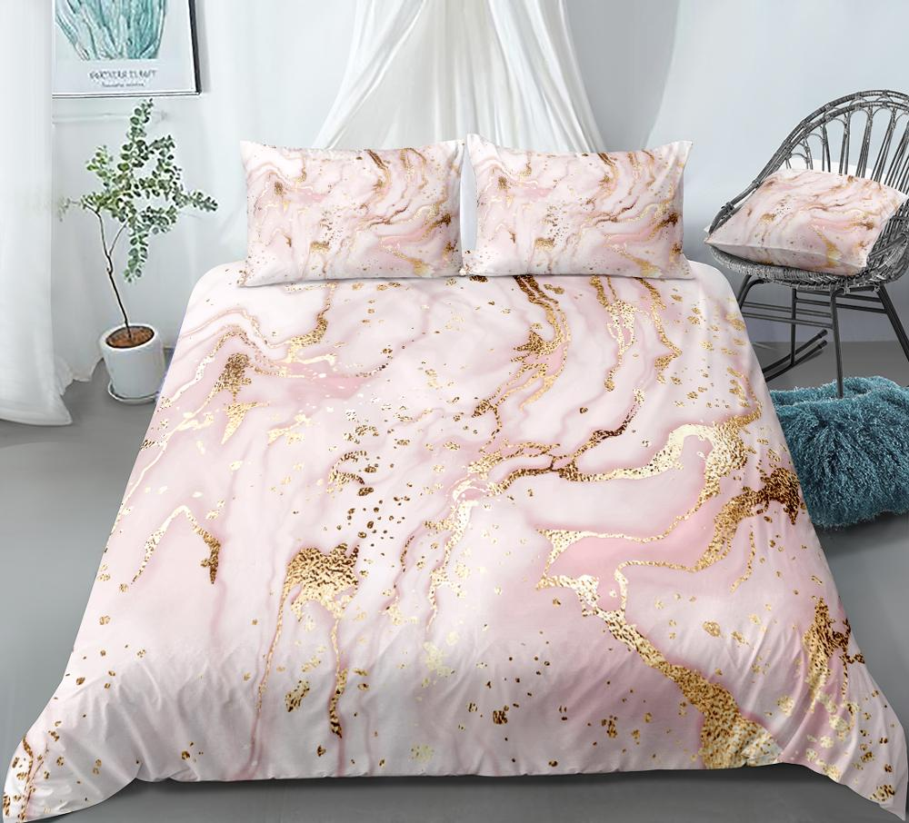 Gold Pink Bedding Set  Quicksand Bed Linen Pastel Bed Set Kids Duvet Cover Set  Boys Girls Home Textiles  Microfiber Bedclothes