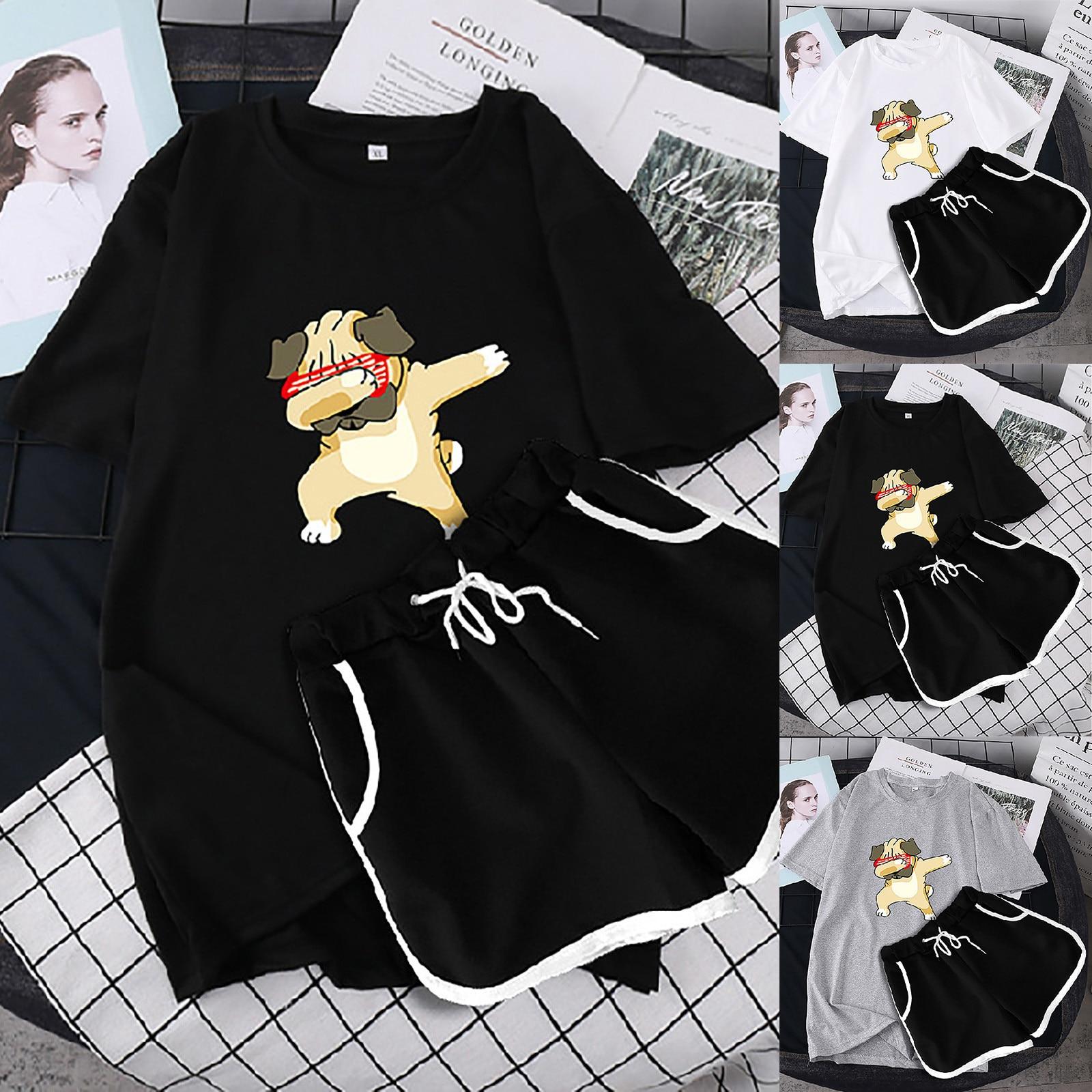ISHOWTIENDA Women Two Piece Drop Sleeves Set Short Sleeve O-neck Paneled T Shirt Shorts Костюм Спортивный Женский Women Set