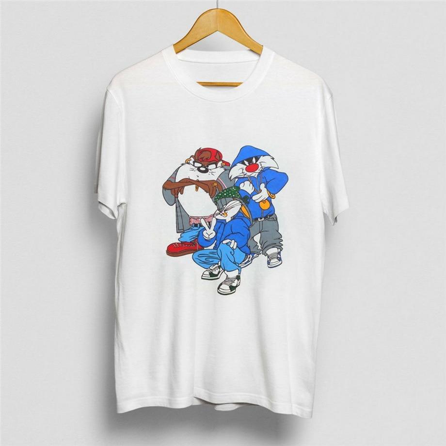 Sylvester TAZ LOONEY TUNES Bugs Bunny 90s RAP HIP HOP T SHIRT T-shirt Dos Homens Do Vintage Unisex Moda de Nova Camiseta Solta