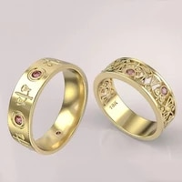 classic luxurly gold color lovers ring wedding band engagement ring promise jewelry inlay red zircon crystal ring party jewelry