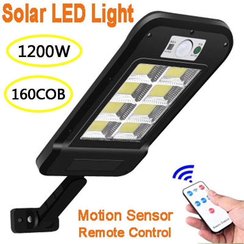 160 COB Solar LED Street Light Waterproof PIR Motion Sensor Smart Remote Control Lamp 1200W Outdoor