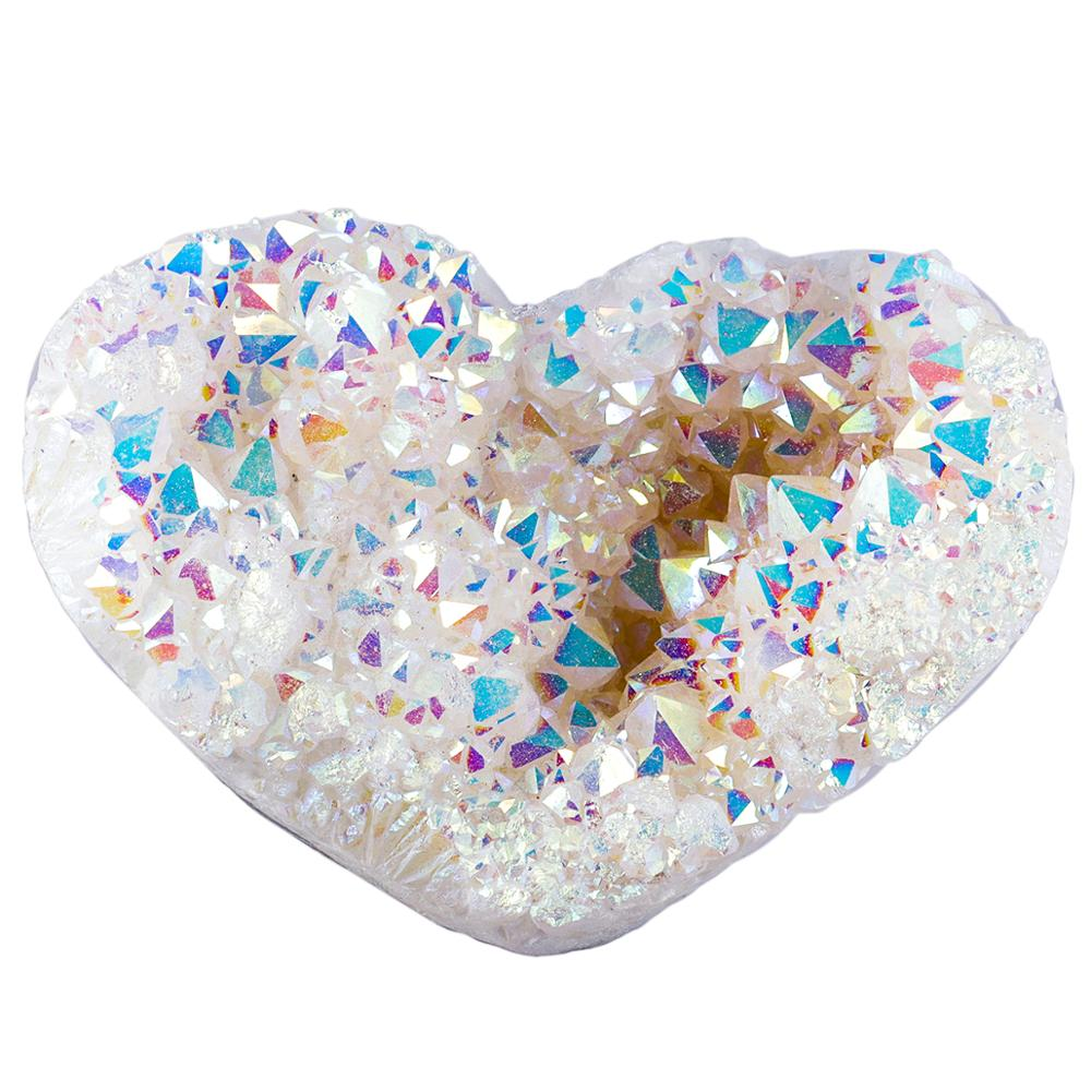 TUMBEELLUWA Heart Shape White AB Titanium Coated Crystal Cluster Specimen , Natural Druzy Geode Angel Aura Gem stone Home Decor недорого