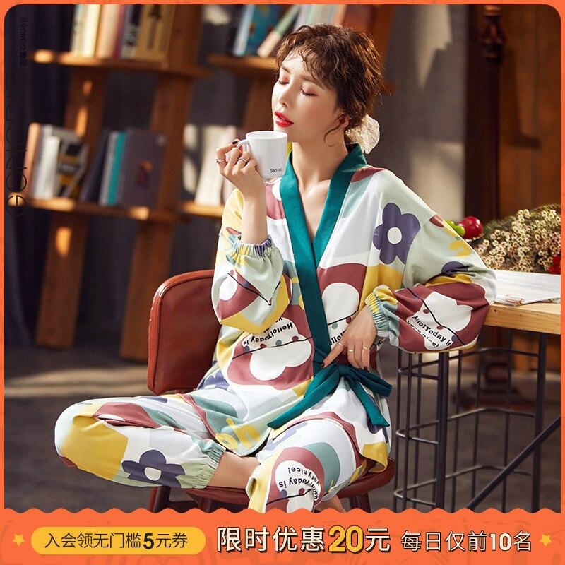 Gongdie منامة للنساء الربيع والخريف يمكن ارتداءها خارج النمط الياباني القطن الخالص قطعتين دعوى الكرتون لطيف عادية