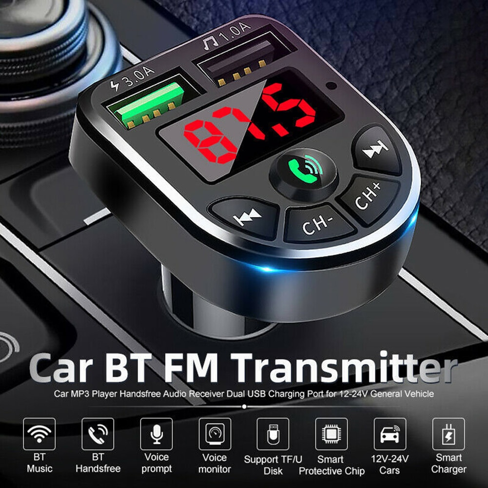 Transmisor FM LED con Bluetooth 5,0 para coche, kit de reproductor de...