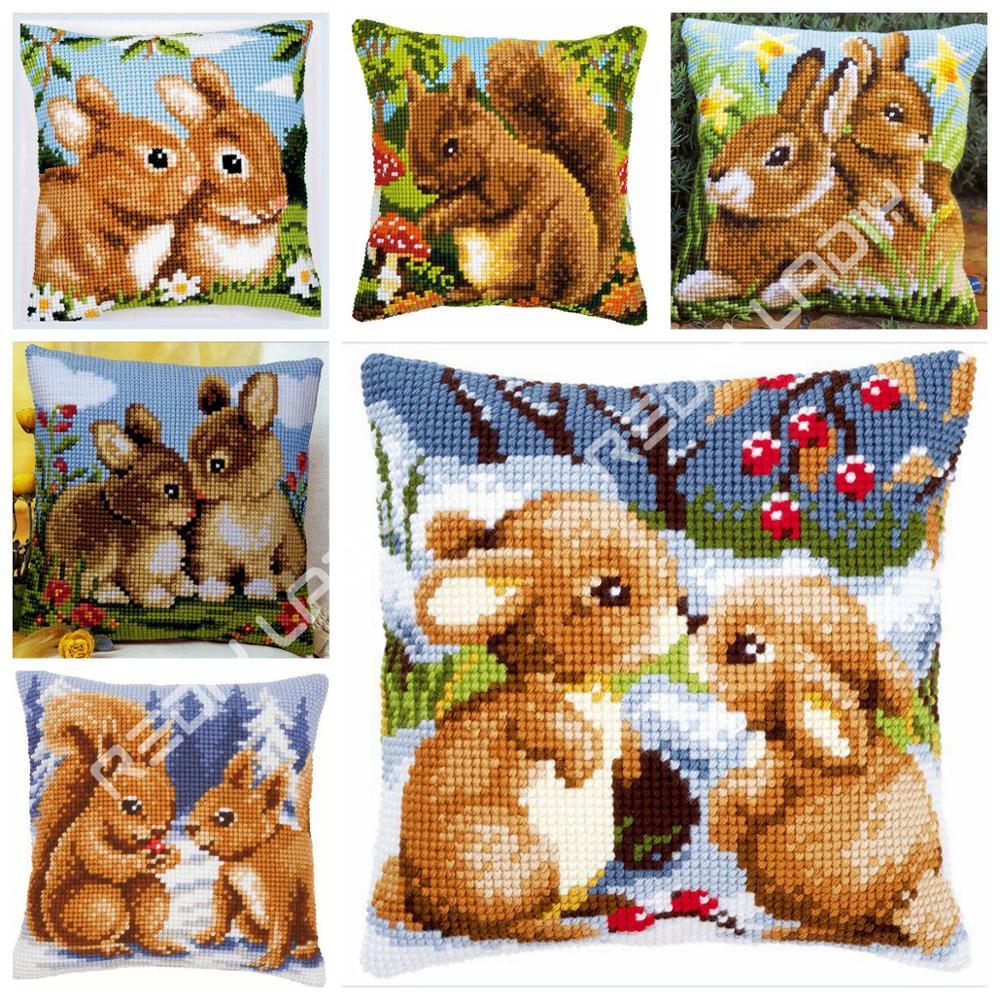 Cross Stitch Cushion Front Squirrel Rabbits Pillow Chunky Cross-Stitch Kits 100% Acrylic Yarn Pillow Case Home Decor Needlework