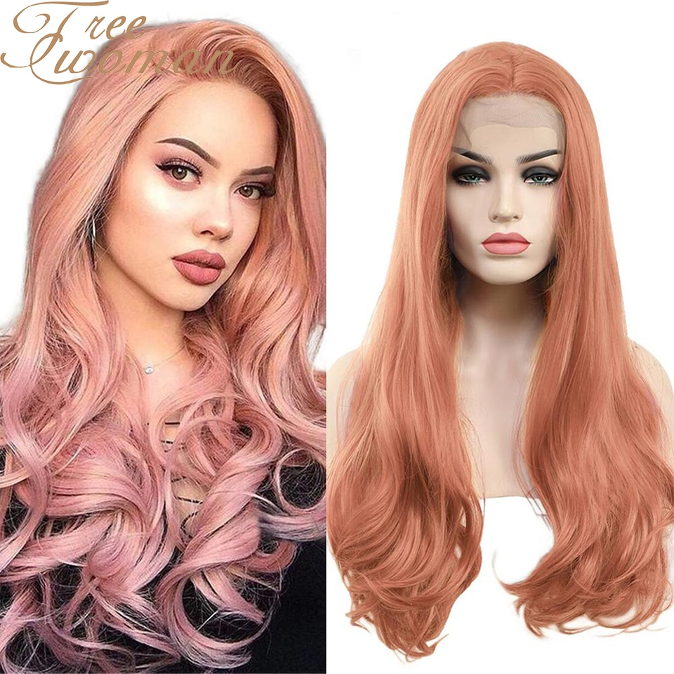 FREEWOMAN Synthetic Lace Front Wig For Women 24 Inch Wavy Wigs Fake Hair Extension Heat Resistant Purple Pink Blonde Cosplay Wig