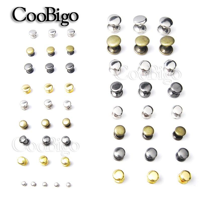 50 conjuntos de rebites de metal studs redondo rebite para artesanato couro saco cinto vestuário sapatos pet collar decoração costura acessórios