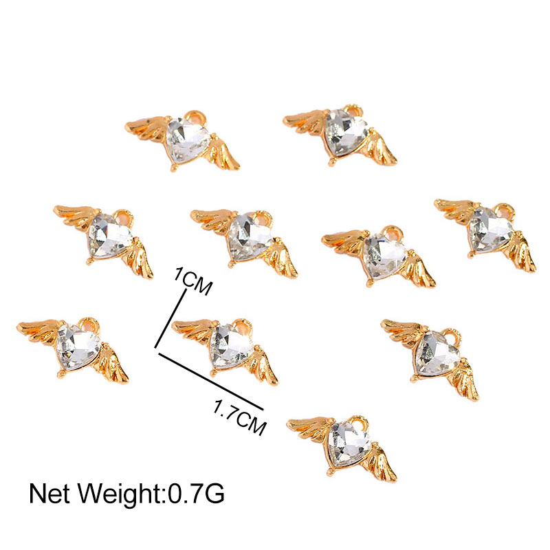 117*10mm Alloy Heart Shape Charms Colorful Crystal Hearts Wing Love Charm For Earring Making Accessories Jewelry DIY Crafts  - buy with discount