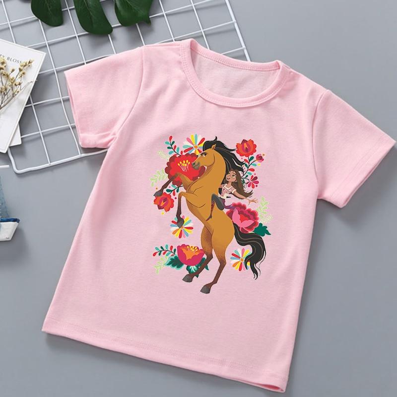 Новинка, лидер продаж, детские футболки с мультяшным принтом Mustang spirit, футболки для девочек, модные трендовые футболки для маленьких девочек...