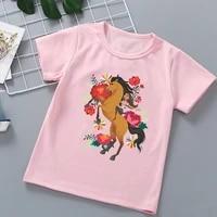 new hot sale childrens tshirts mustang spirit cartoon print girls t shirts fashion trend baby girls t shirts pink clothing tops
