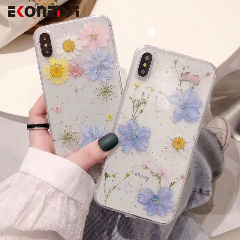 EKONEDA Real seco Floral funda para iPhone XR funda transparente de silicona para iPhone XS Max X 7 Plus 6 6S 8 Plus caso