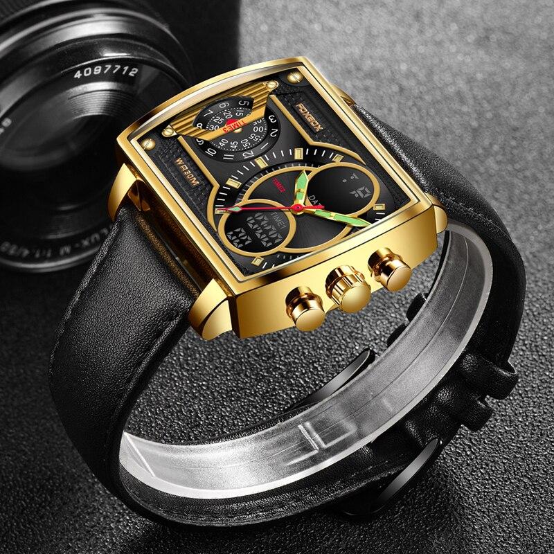 FOXBOX جديد الرجال لمشاهدة مربع الأعمال الرقمية كوارتز ساعة اليد مقاوم للماء الرجال ساعة مزدوجة عرض ساعة Relogio Masculino + صندوق