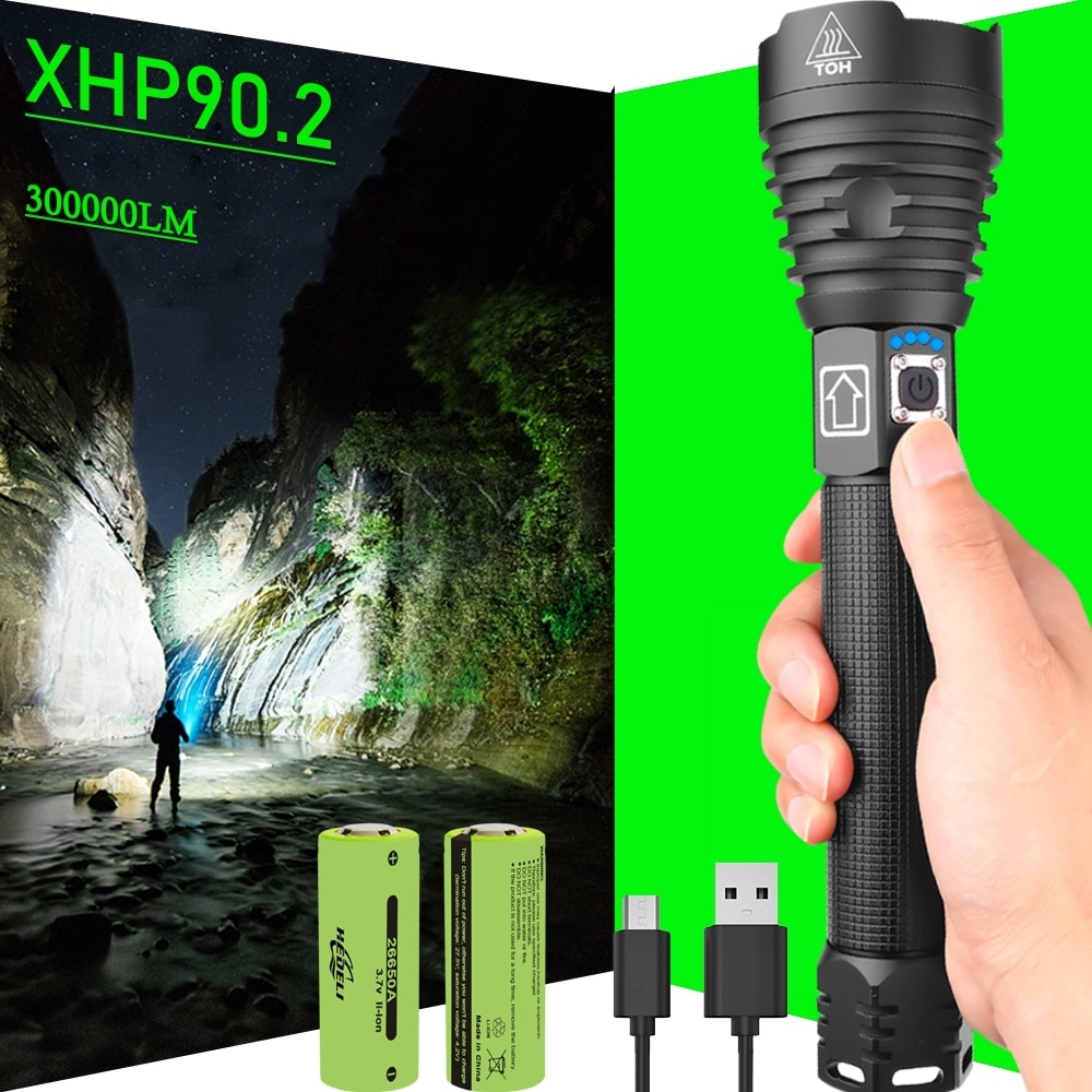 300000 Glare XHP90.2 Most Powerful LED Flashlight 18650 OR 26650 USB LED Torch XHP50 XHP70 Lantern 1