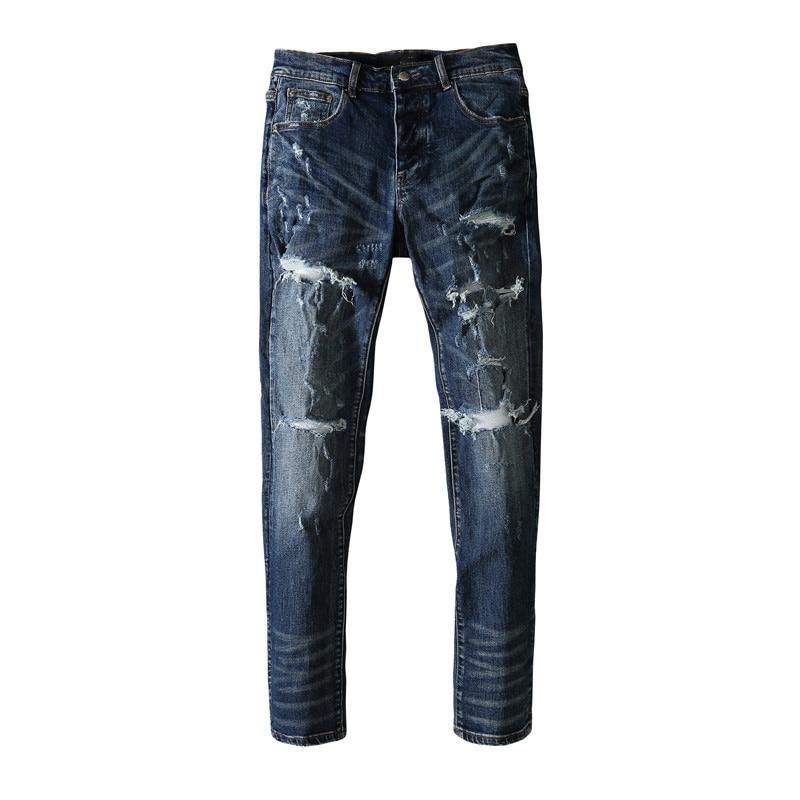 American Famous Brand AMR Patch Vintage Ripped Jeans Streetwear Techwear Traf Pants for Men Sweatpants Men Trousers