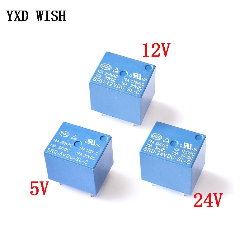 PCS Mini 5 Pinos SRD-05VDC-SL-C SRD-12VDC-SL-C SRD-24VDC-SL-C Relais Rele 10 Relé 10A 5V 12V 24V DC