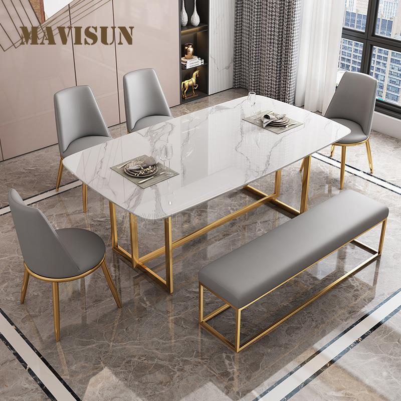 ضوء الفاخرة روك بلاطة طاولة طعام الراقية مستطيلة الرخام المنزلية شقة صغيرة الحديثة بسيطة لامعة طقم طاولة عشاء
