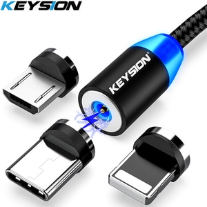 KEYSION светодиодный магнитный usb-кабель для быстрой зарядки, кабель типа C, магнитное зарядное устройство для зарядки данных, кабель Micro USB, моби...