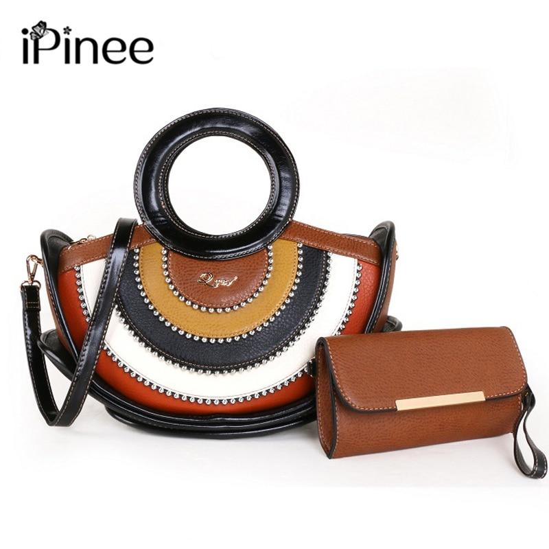IPinee PU محفظة جلدية حقائب النساء سلسلة من الخرز حقيبة أنيقة كبيرة مقبض سيدة حقائب كتف 2 مجموعة حمل المحفظة