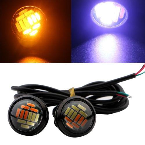 Pair 4014 LED Eagle Eye Light Dual Color White Amber Switchback DRL Lamp Bulb X2