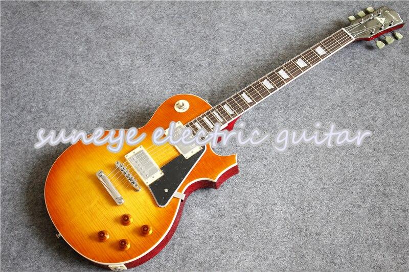 Suneye-Guitarra eléctrica con incrustaciones de perlas, golpeador negro estándar de China, bricolaje,...
