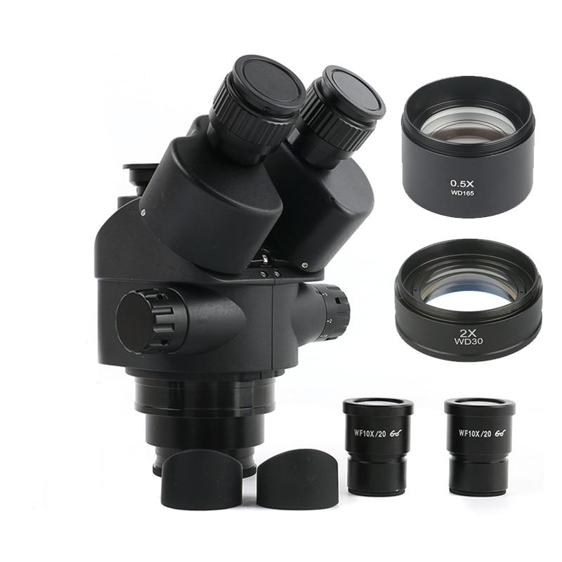 7X-45X 3.5X-90X Simul-Focal Trinocular Microscope Zoom Stereo Microscope Head 0.5x 2.0x 0.7x 1.5x 0.75x Auxiliary Objective Lens