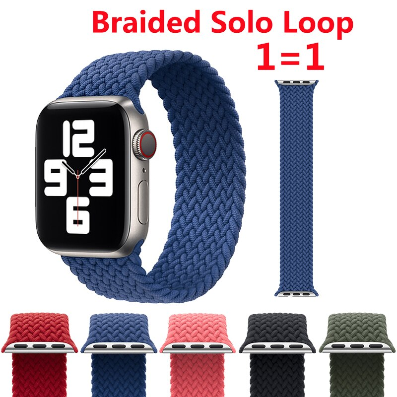 Braided Solo Loop Strap For Apple Watch Band 44mm 40mm 38mm 42mm Official 1:1 Nylon Fabric Watchband