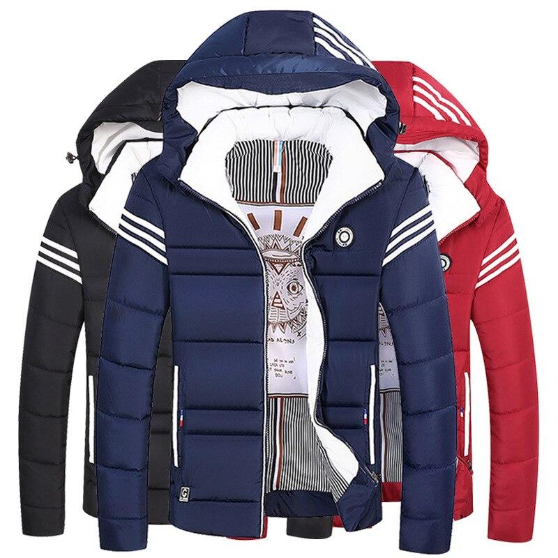 Зимняя мужская хлопковая куртка с капюшоном, приталенная утепленная мужская хлопковая куртка, молодежная Корейская мужская куртка, мужски...