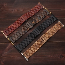 Wooden strap For Apple watch band 44mm 40mm iWatch bands 42mm 38mm belt Metal watchband Butterfly br