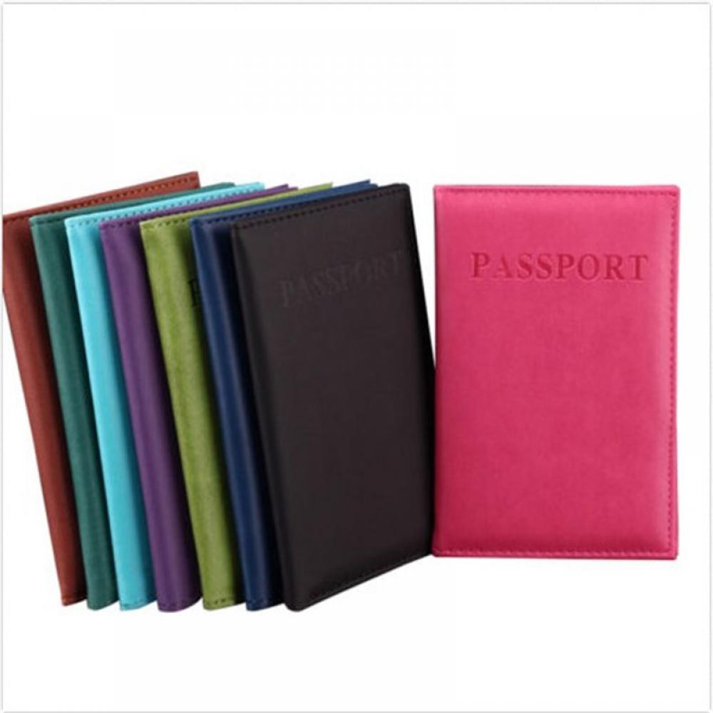 Funda de pasaporte negra/azul claro/rosa roja con nombre de cuero PU funda para tarjeta de identificación personalizada funda, soporte OL Business Best