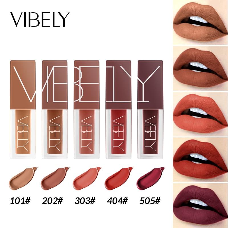 5-Color Lip Gloss Matte Liquid Lipstick Waterproof Long-Lasting lip Glaze Sexy Metallic Makeup Cosmetic