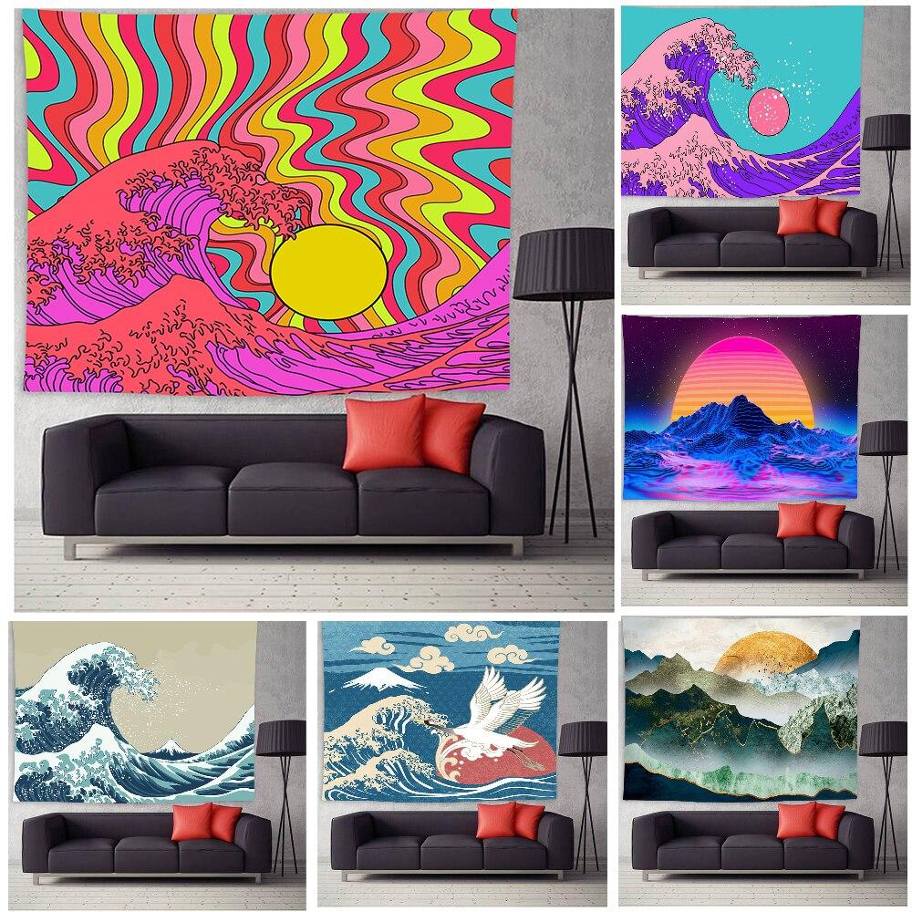 Гобелен с пейзажем настенный большая волна психоделические хиппи морская психоделические художественные гобелены для Спальня дома эстети...