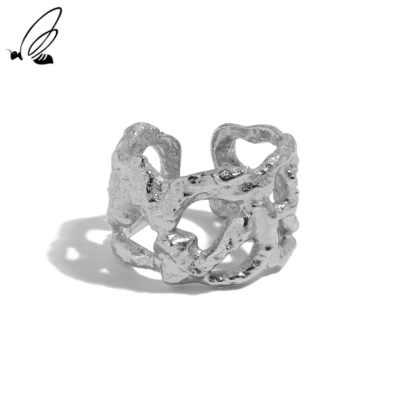 S'STEEL 925 Sterling Silver Hollow Wide Design Of Minimalism Opening Ring Female For Women Gothic En